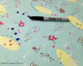 Enchant Main C3470 Aqua  Fox / Hedgehog Fabric Print from Riley Blake Fabrics- 1/2 yard on sale