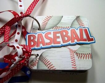 Baseball Mini Scrapbook Album, Baseball Scrapbook, Baseball Mini Album, Baseball Photo Album, Baseball Brag Book, Baseball Album