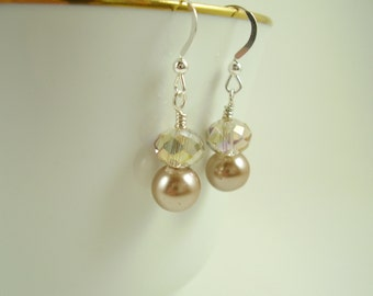 Taupe Pearl and Crystal Earrings-Cafe Au Lait Pearl Earrings-Taupe Pearl Drop Earrings-Champagne Crystal Earrings-Simple Earrings
