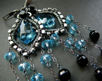 Aquamarine Blue wire wrapped chandelier earrings - sterling silver,  black onyx and Swarovski crystal.