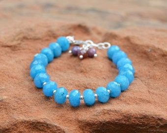 Handcrafted Beaded Bracelet Chain Blue Quartz Rondell Bead Faceted Dyed Ruby Bead Gift Women Birthday Blue Quartz and Ruby Bead Bracelet