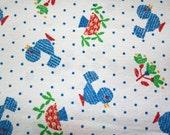 vintage 70's Cute Little Blue Birds Mushrooms & Tulips Novelty Juvenile Fabric