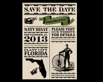 Save the Dates - Vintage Victorian Antique Rustic Cottage Chic Small Banner Wedding Save the Dates