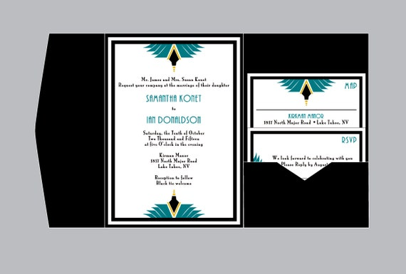 Art Deco Wedding Invitations - Vintage Antique Art Nouveau Art Deco Wedding Border Pocket Fold Invitations