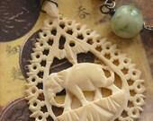 Elephantidae-Antique Vintage Hand Carved Bone Elephant Assemblage Necklace