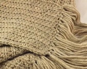 The Boyfriend Scarf 100% new wool crocheted huge scarf in natural wheat tan mix