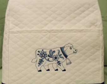 White Mixer Cover with Delft Blue Country Cow