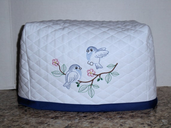 white 2 slice toaster cover with 2 cute blue birds. Black Bedroom Furniture Sets. Home Design Ideas