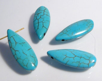 4 Beads...Blue Howlite Turquoise Smooth Puffed Teardrop Briolette Gemstone Beads...24x10mm