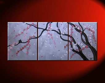 Grey Cherry Blossom and Love Bird Painting Beautiful Original Art Pink Flowers Tree Branches 48x20 Custom