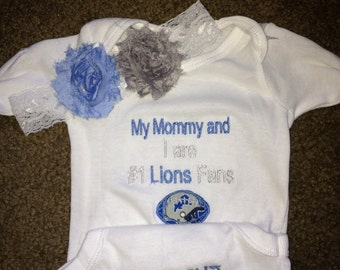 Detroit Lions Football Girls Baby Infant Newborn Onesie Creeper and Headband with Shabby flowers set