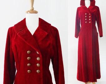 Amazing OOAK Vintage 70s 1970s Rockstar Red Velvet Maxi Coat, Mint Condition, XS, S Almost Famous, Sgt Peppers, Pimp Coat