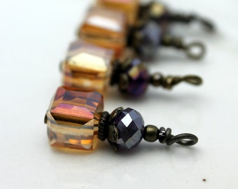 Golden Citrine AB Faceted Square Cube and Dark Purple AB Crystal Bead Dangle Set