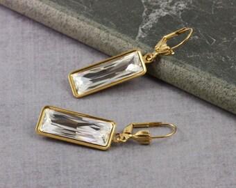 Crystal Earrings Bridal Jewelry Birthstone Earrings April Birthstone Gold Drop Earrings Dangle Wedding Earrings High Fashion Jewelry