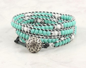 Boho Wrap Bracelet Aqua Gray Leather Wrap White Bracelet Southwest Jewelry 4x Wrap Beach Bracelet Summer Fashion Skinny Turquoise Bracelet