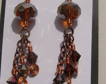 Autumn Swarovski Crystal Sunset Dangle Earrings with Spirals