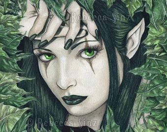 Fairy of the Dark Forest PRINT Gothic FAIRY green fantasy Art Leaves Monochromatic Green Portrait 3 SIZES