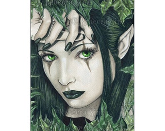 Fairy of the Dark Forest ACEO Print Gothic Fairy Fantasy Green Artist Trading Cards ATC Leaves nymph