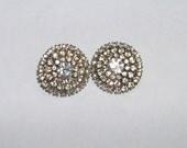 vintage 1960s rhinestone earrings pierced button style