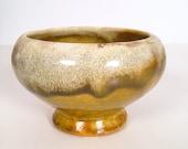 vintage planter - ceramic drip glaze ombré olive and cream