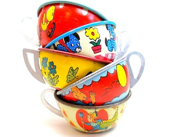 50s Tin Toy Tea cups, Red, white & blue graphics, Instant Collection.