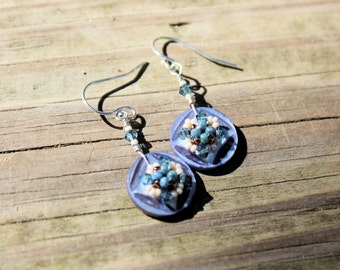 Hand Beaded Vintage button earrings, Carved blue gray mother of pearl buttons, montana blue swarovski crystals and seed beads