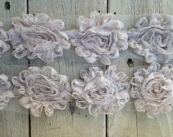NEW-Shabby Rose Lace Trim LIGHT GRAY-2 1/2 inches-1/2 yard piece