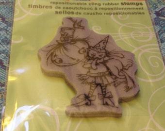 Punkin Kitty Halloween foam-mounted Cling Stamp