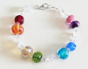 Bright Rainbow Bracelet Lampwork Sterling Silver Bracelet by keiara SRA