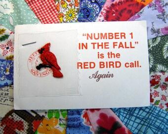 Cardinal Iron-On Applique-Vintage Decoration St. Louis Cardinals Promo Card