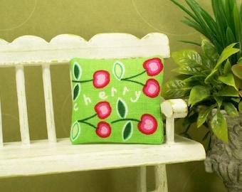 Cherry Pillow Cushion Pink Green Cherries 1:12 Dollhouse Miniature Artisan