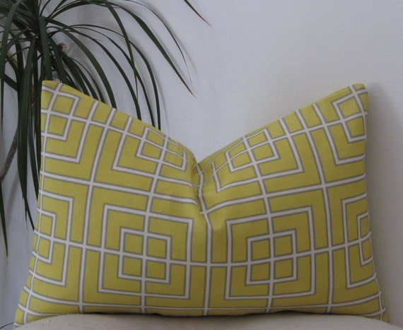 Indoor/Outodor Dwell Studio Fretscene Canary- Geometry Pillow Cover - Invisible Zipper - Lumbar PillowCase