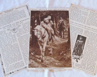 "KING ARTHUR and his KNIGHTS --antique prints from ""Book of Knowledge"" 1912 (2 pages)"