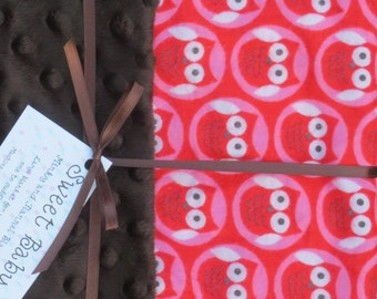 Large Red Owl Flannel and Minky Dot Baby Blanket - 34 X 40