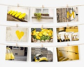 SALE! Paris Postcard Set, Yellow Travel Postcards 4x6 Art Print, Apartment Decor, Paris Print Gallery Wall Set, Yellow Prints Dorm Decor