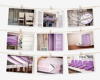 SALE! Paris Postcard Set, Purple Travel Postcards 4x6 Art Print, Affordable Art, Paris Decor Gallery Wall Set, College Student Dorm Decor