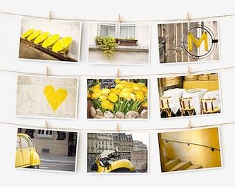 SALE! Paris Postcard Set, Yellow Travel Postcards 4x6 Art Print, Apartment Decor, Paris Print Gallery Wall Set, Yellow Prints Dorm Decor