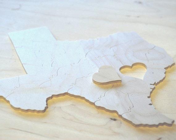 Puzzle Wedding Guest Book, 50 Wood Pieces, Choose a Shape