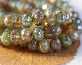 DESERT MIX No. 2 .. 25 Premium Picasso Mix Czech Rondelle Beads 6x8mm (4100-st)