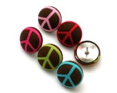 Fabric Button Push Pins, back to School, School, Peace, Hippie, Office, Thumbtacks, Office Supply, Cork Board, Stocking Stuffer, Teen Room