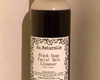 Black Soap Facial Cleanser - Four Ounce - Oily Skin Cleanser  -  NEW Larger Size  -  All Natural Skincare