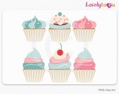 Baking Cupcakes clip art, blue and pink digital clip art set PNG (125)
