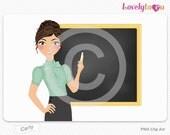 Teacher writing on chalkboard, digital PNG clip art (Carly 448)