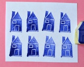 mini house hand carved rubber stamp, handmade rubber stamp