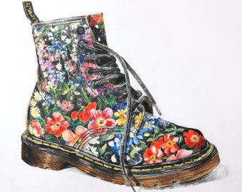 Vintage Floral Dr Martens Boot - Colored Pencil - 8x8 Square Art Print