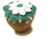 Felt Play Food Toy Cupcake with Teal and White Frosting