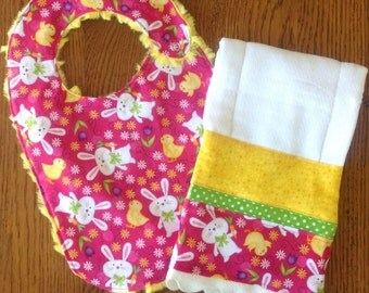 Bunny and Chick Minky Baby/Toddler Bib and Burp Cloth Set