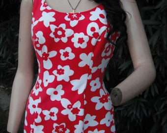 Vintage 1950s/60s Swimwear,  Red and White FloralSwimsuit,  Pin Up Bathing Suit,  36