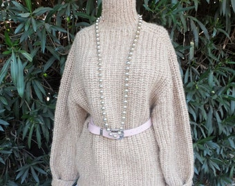 Vintage Heavy Golden Brown Cableknit Wool Sweater made in England  42