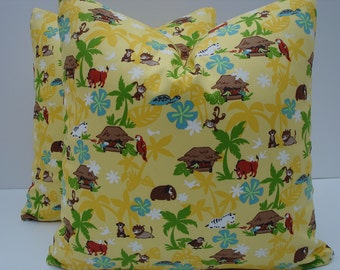Kids Jungle Pillow Covers One Pair 16 x 16 Yellow Pillows Handmade Home Decor Kids Pillows Colorful Pillows Pair Yellow Pillows Cushions